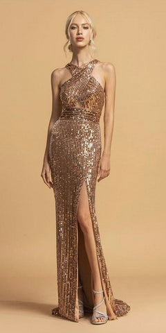 Long Sequin Sheath Dress Rose Sheer Side Cut Out Form Fitting