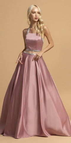 Two-Piece Satin Long Prom Dress with Pockets Mauve