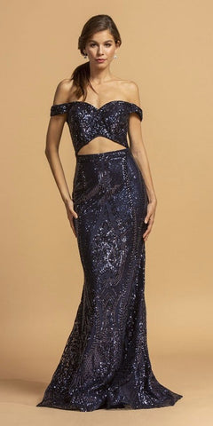 Cut-Out Midriff Navy Blue Long Mermaid Prom Dress