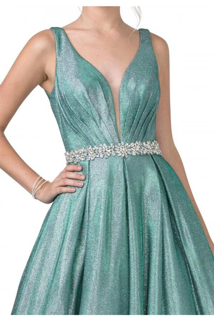 Aspeed USA L2200 Sea Green Embellished Waist Long Prom Dress V-Neck