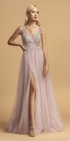 Mauve V-Neck and Back Long Prom Dress with Slit
