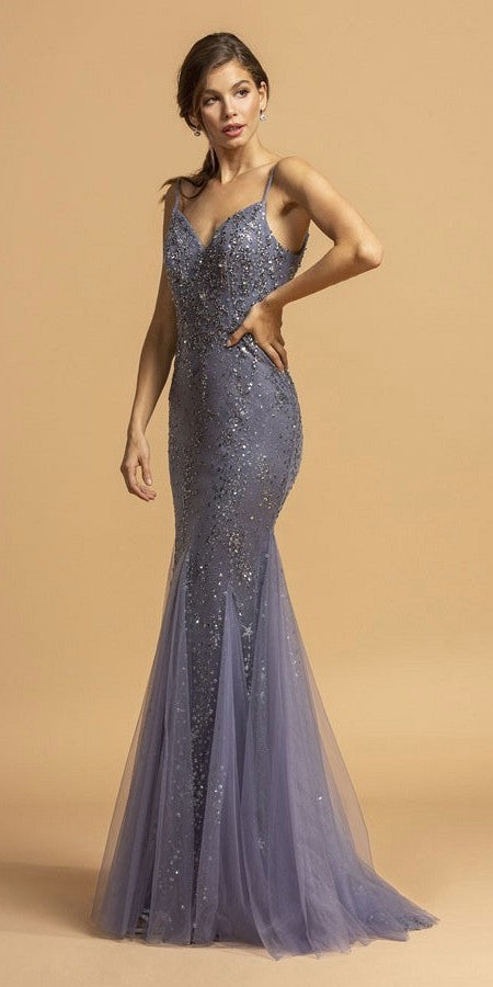 Charcoal Mermaid Long Prom Dress with Spaghetti Straps