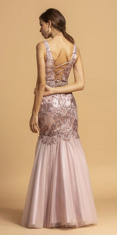 Lace-Up Back Embellished Long Prom Dress Mauve