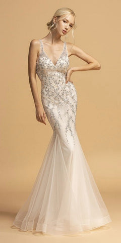 Plunging V-Neck Long Trumpet Prom Dress Champagne