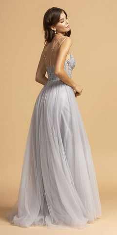 Appliqued Bodice Long A-Line Prom Dress Slate Gray