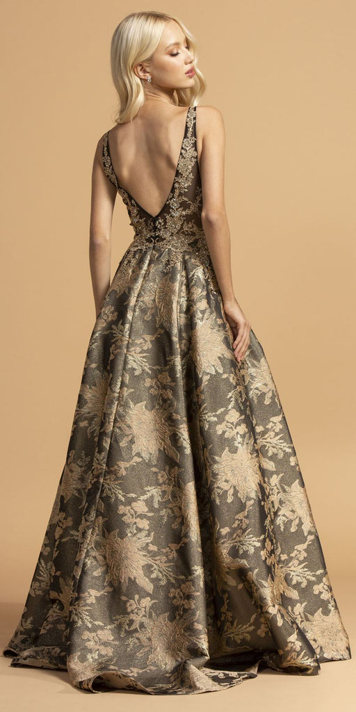 Aspeed Design L2208 Printed Long Prom Dress Black/Gold with Pockets