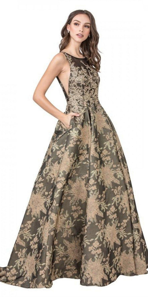 Aspeed L2208 Long Formal Printed Dress Black/Gold with Pockets