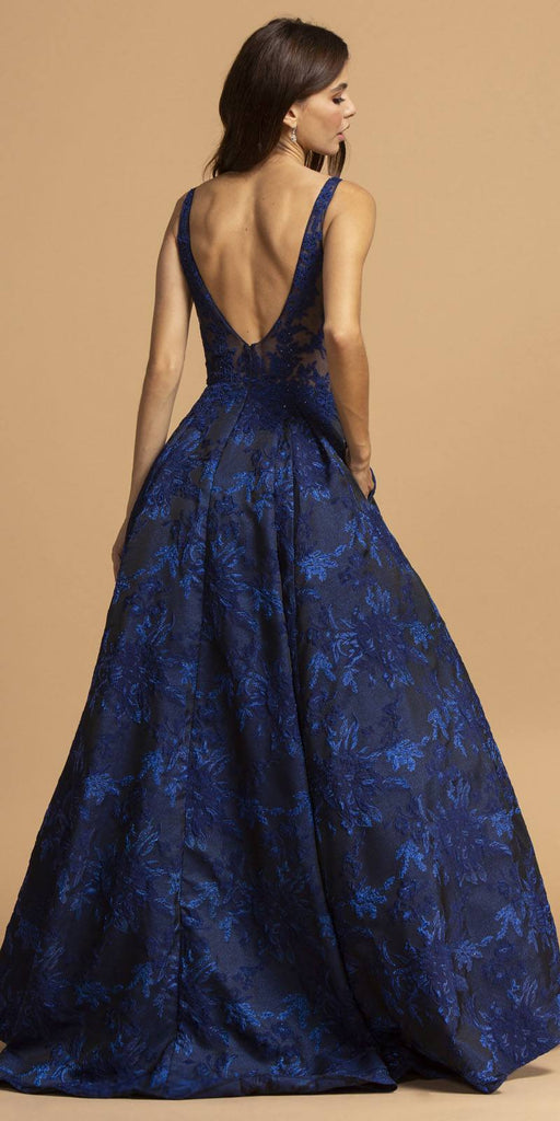 Aspeed Design L2208 Printed Long Prom Dress Navy Blue with Pockets