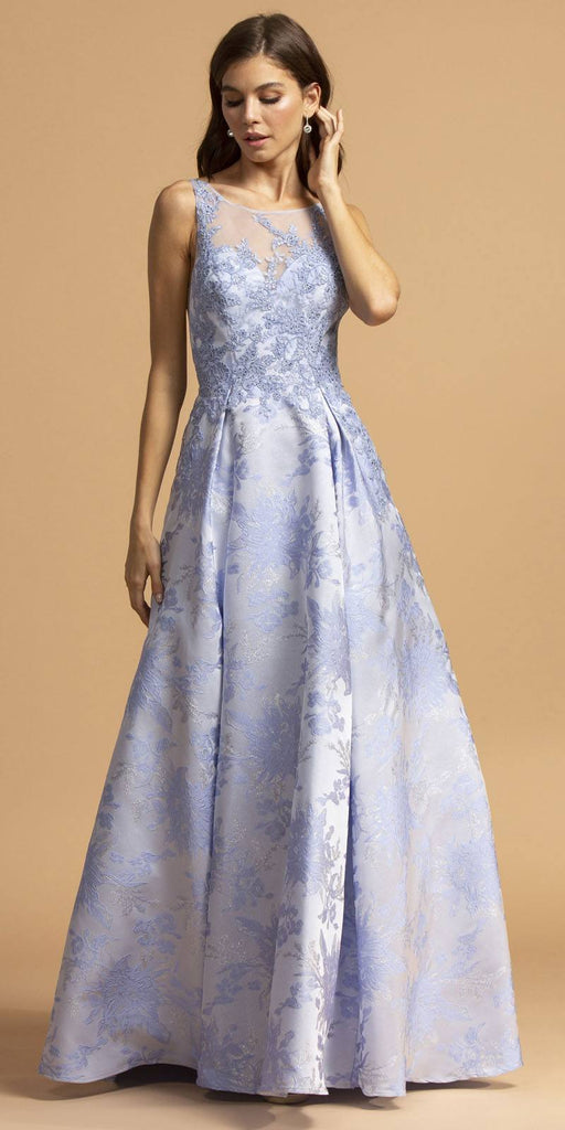 Aspeed Design L2208 Printed Long Prom Dress Perry Blue with Pockets
