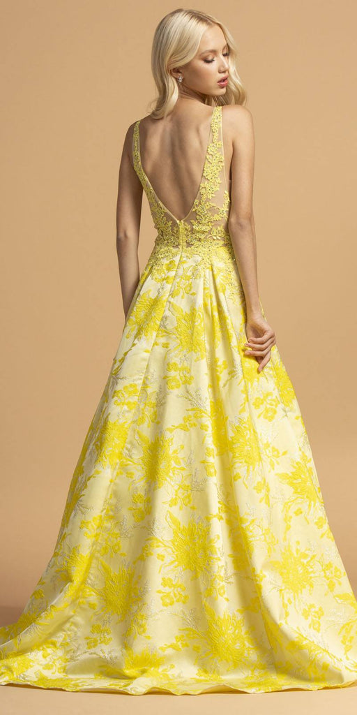 Aspeed Design L2208 Printed Long Prom Dress Yellow with Pockets