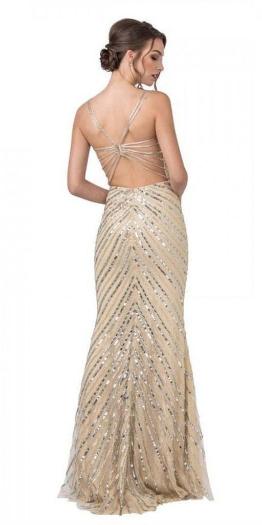 Aspeed Design L2209 Champagne Sequin-Embellished Long Prom Dress