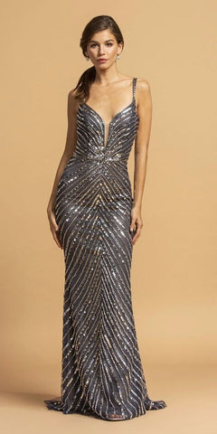 Navy Blue Sequin-Embellished Long Prom Dress
