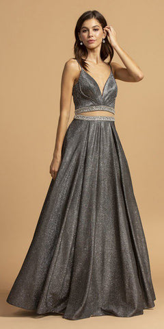 Beaded Sheer-Midriff Long Prom Dress Black