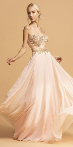 Sweetheart Neckline Appliqued Long Prom Dress Blush