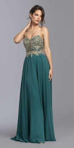 Sweetheart Neckline Appliqued Long Prom Dress Teal