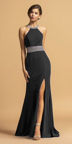 Fitted Sheath Black Dress Cut Out Gown Beaded Halter Illusion Neckline T-Back