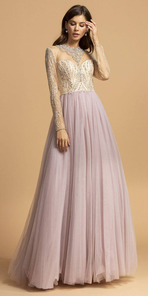 Aspeed USA L2217 Long Sleeved Illusion Beaded Long Prom Dress Mauve