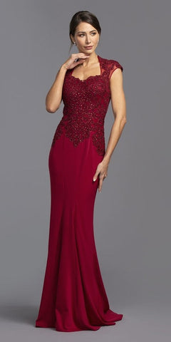 Burgundy Appliqued Long Formal Dress with Short Train