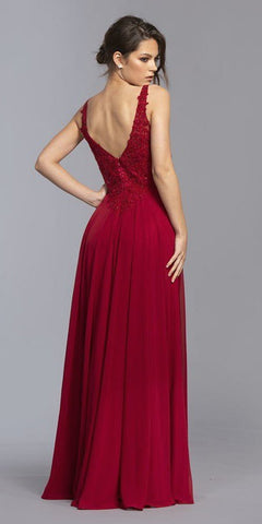A-Line Sleeveless Long Formal Dress with Appliques Burgundy