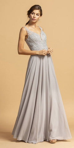 Appliqued Long Prom Dress with Cape Skirt Off White/Silver
