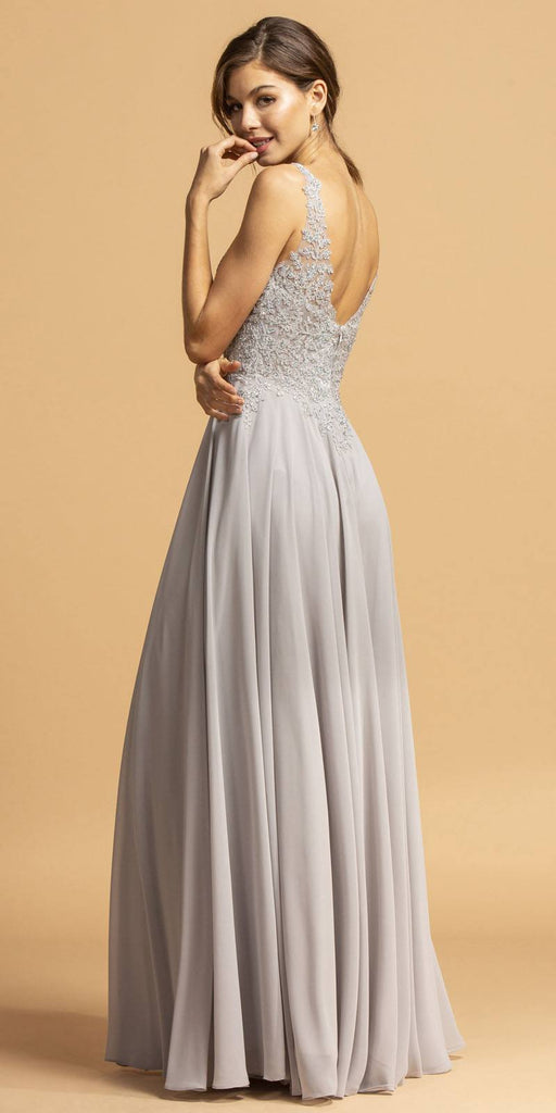 A-Line Sleeveless Long Formal Dress with Appliques Navy Blue