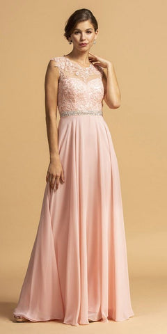 Long Lace Sheath Dress Mauve Chiffon Overlay V Neck
