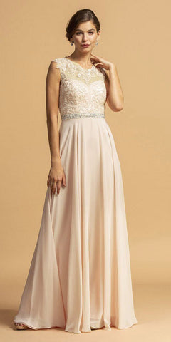 Appliqued Bodice Long Prom Dress with Pockets Champagne