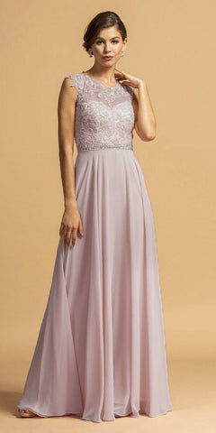 Mauve Illusion Lace Bodice Long Formal Dress Cut-Out Back