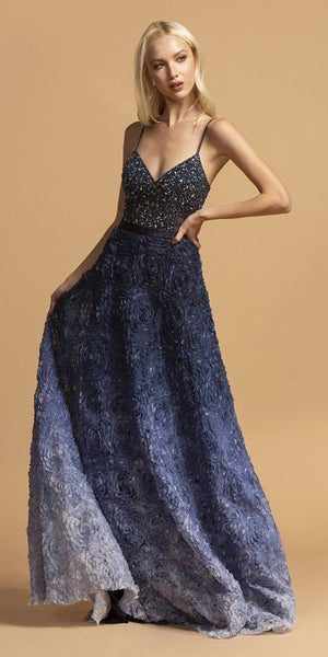 Aspeed USA L2224 Long A-Line Ombre Navy Blue Prom Gown Spaghetti Straps