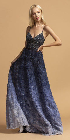 Floor Length Lace Bodice Tulle A-Line Gown Navy Blue Poofy