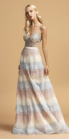 Floor Length Lace Bodice Tulle A-Line Gown Light Peach Poofy