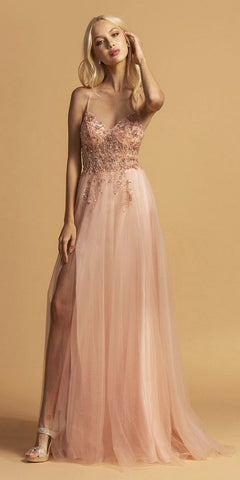 Blush V-Neck and Back Long Prom Dress with Spaghetti Strap