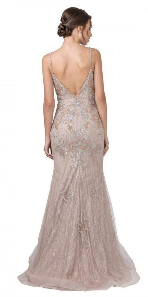 Aspeed USA L2230 Mermaid Embellished Long Prom Dress V-Neck and Back Blush
