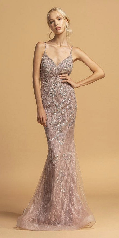 Mermaid Embellished Long Prom Dress V-Neck and Back Mauve