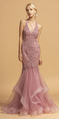 Misty Rose Trumpet Style Appliqued Long Prom Dress