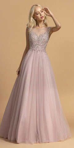 Appliqued Bodice Long A-Line Prom Dress Misty Lilac