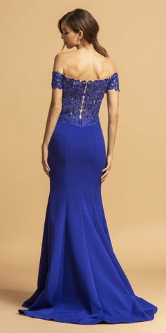 Appliqued Off-Shoulder Mermaid Long Prom Dress Royal Blue