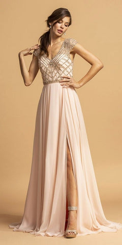Empire Waist Beaded Long Formal Dress Blush with Slit