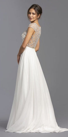 Empire Waist Beaded Long Formal Dress Off White with Slit