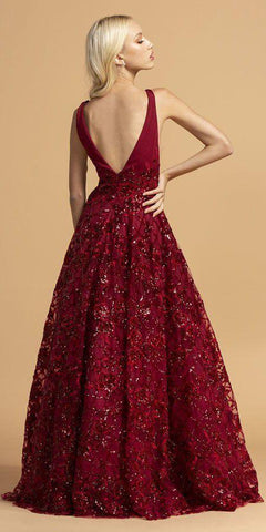 Aspeed Design L2237 A-Line Ball Gown Long Burgundy V Neckline Side Insets Open Back