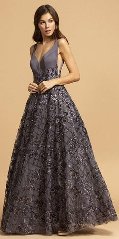 Aspeed Design L2237 A-Line Ball Gown Long Charcoal V Neckline Side Insets Open Back