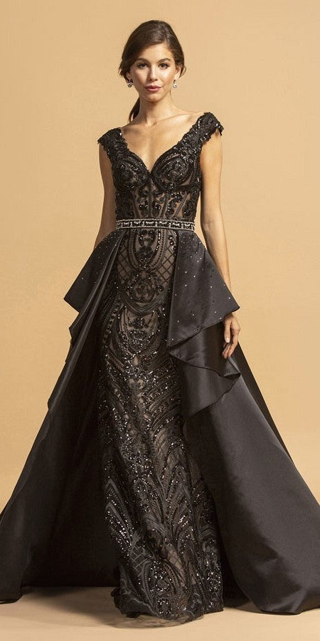 Black Appliqued Long Prom Dress with Beaded Cape Skirt