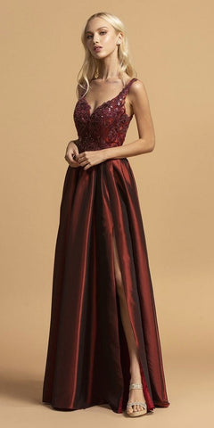 A-Line Appliqued Long Taffeta Prom Dress Burgundy with Slit