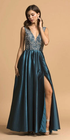 a519cb32ecb Cut-Out Back Sleeveless Long Prom Dress with Slit Teal