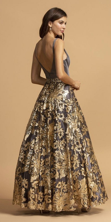 Sequins-Appliqued Long Prom Dress Charcoal/Gold