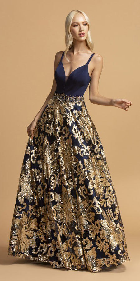 Sequins-Appliqued Long Prom Dress Navy Blue/Gold