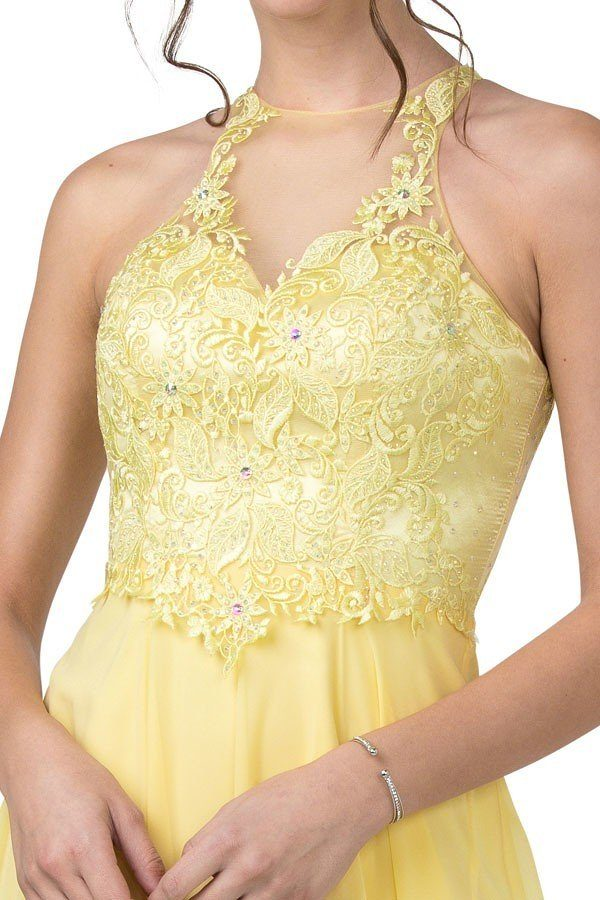 Halter Lemon Long Prom Dress with Appliqued Bodice