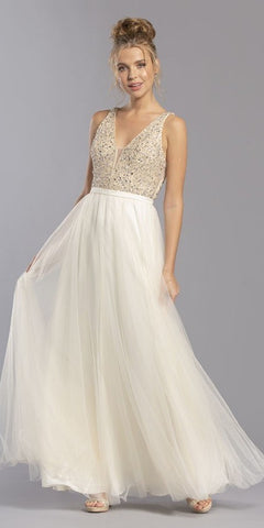 Champagne V-Neck and Back Embellished Long Prom Dress