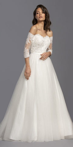 Off-The-Shoulder Long Wedding Dress Off-White