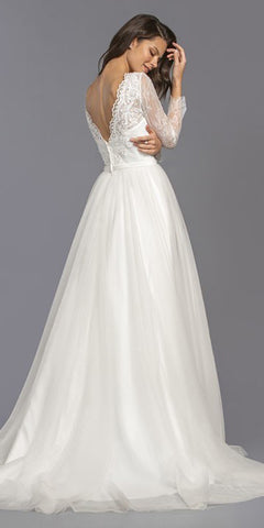 Long Sleeved Off White Long Wedding Dress V-Neck
